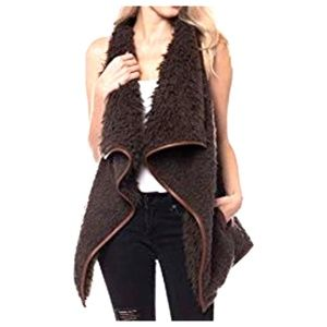 On Trend Brown Teddy Sherpa Faux Shearling Vest